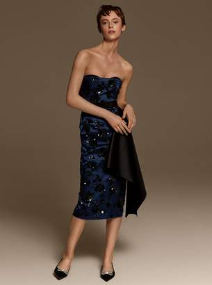 Michael Kors Embroidered Silk-and-Wool Duchesse Strapless Dress