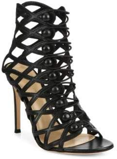Gianvito Rossi Cutout Leather Button-Strap Sandals