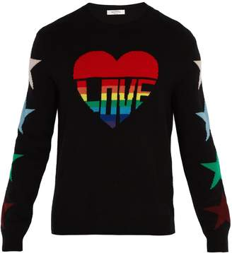 Valentino Love-intarsia wool and cashmere-blend sweater