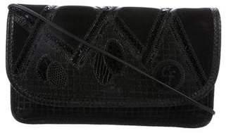 Carlos Falchi Snakeskin-Trimmed Leather Crossbody Bag