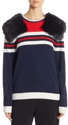 Harvey Faircloth Faux Fur Striped Sweater