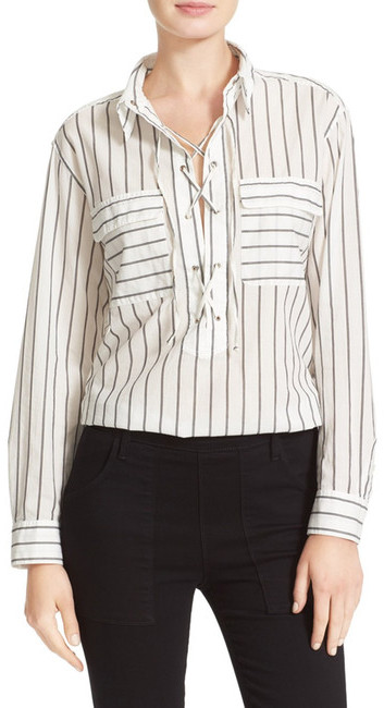 Equipment Equipment Knox Lace-Up Stripe Shirt