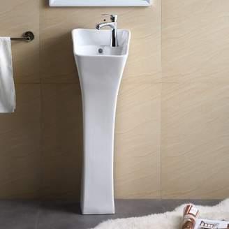 "Fine Fixtures Vitreous China 12"" Pedestal Bathroom Sink with Overflow Fine Fixtures"