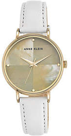 Anne Klein White Leather Strap Mother-of-PearlWatch