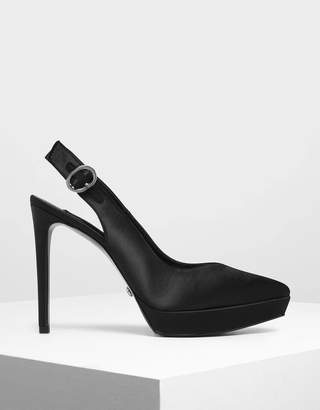 Charles & Keith Satin Slingback Platform Heels