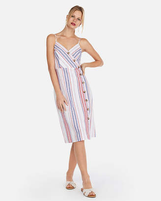 Express Stripe Linen-Blend Button Front Fit And Flare Sundress