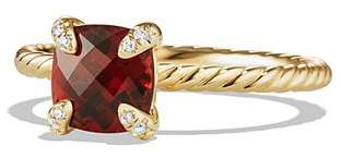 David Yurman Châtelaine Ring with Garnet and Diamonds in 18K Gold