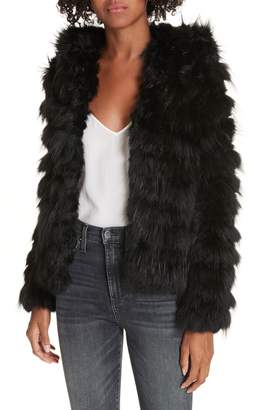 Alice + Olivia Nadia Genuine Rabbit & Fox Fur Jacket