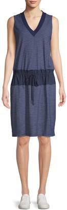 Kenneth Cole Mixed-Media Drawstring Waist Cotton Dress