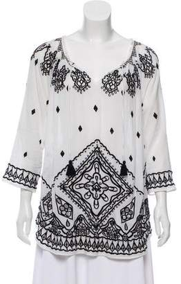 Calypso Embroidered Long Sleeve Top