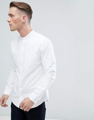 New Look Standard Fit Oxford Shirt With Grandad Collar In White