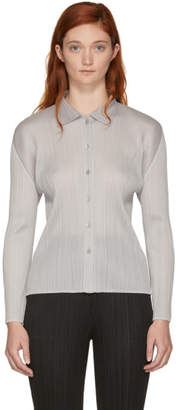 Pleats Please Issey Miyake Off-White Basics Pleated Shirt