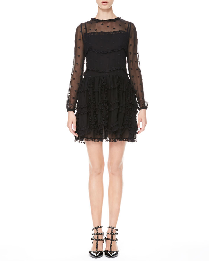 RED Valentino Long-Sleeve Dotted Ruffle Dress