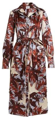 Erdem Quenna Tie Waist Silk Satin Shirtdress - Womens - Burgundy Print