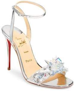 Christian Louboutin Oxydock 100 Metallic Crystal Sandals