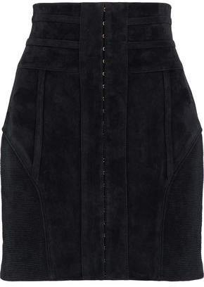Balmain Rib-Paneled Embellished Suede Mini Skirt