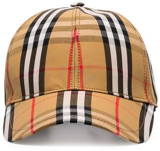 Burberry yellow, black and red vintage check baseball cap