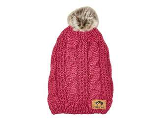 Appaman Kids Soft Knit Slouchy Tendril Hat with Puff Ball Faux Fur (Infant/Toddler/Little Kids/Big Kids)