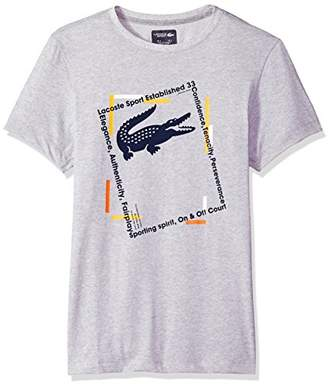 Lacoste Men's Short Sleeve Jersey Tech with Croc Graphic & Jacquard Collar T-Shirt