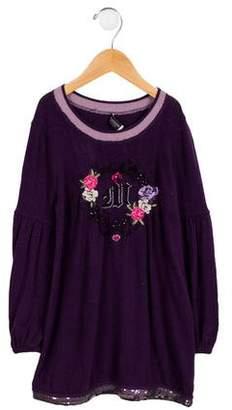MonnaLisa Girls' Embroidered Knit Dress