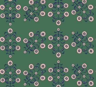 Pottery Barn Block Print Floral Emerald Wallpaper Sample