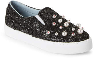 Chiara Ferragni Black Embellished Glitter Slip-On Sneakers