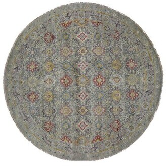 Canora Grey One-of-a-Kind Cesar the Sunset Rosettes Hand-Knotted Round 10' Wool/Silk Gray Area Rug Canora Grey
