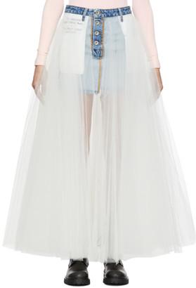 Unravel Indigo Reverse Denim Tulle Skirt