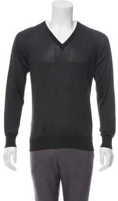 Maison Margiela Silk V-Neck Sweater grey Silk V-Neck Sweater