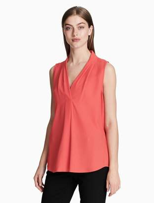 Calvin Klein v-neck inverted pleat blouse