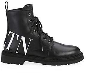 af9c756f816 Valentino Women s Logo Leather Combat Boots