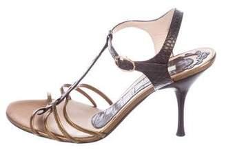 Pollini Leather T-Strap Sandals