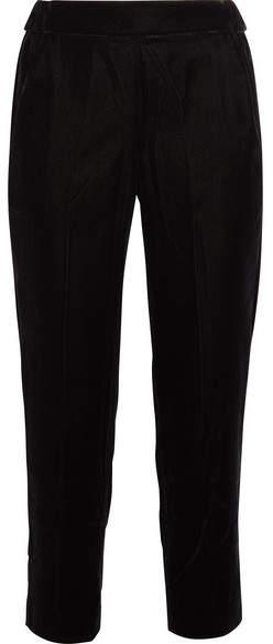 J.Crew - Cropped Velvet Straight-leg Pants - Black