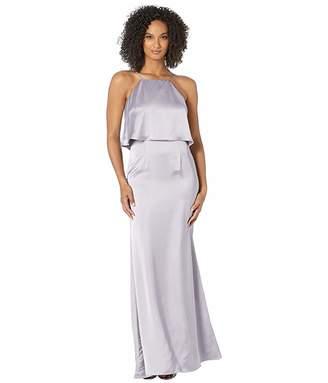 Adrianna Papell Satin Halter Popover Evening Gown