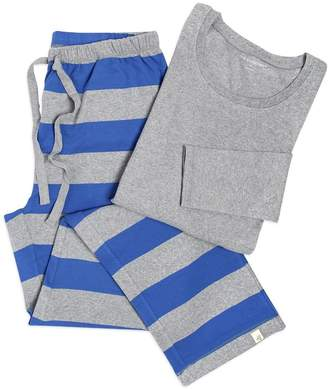 Burt's Bees Blue Rugby Stripe Organic Adult Womens Family Matching Pajama Lounge Pant & Tee