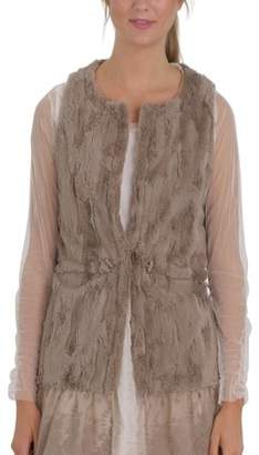 MELODY Women Fashion Faux Fur Round Neck Vest with Lace Bottom (MOCHA, LARGE)