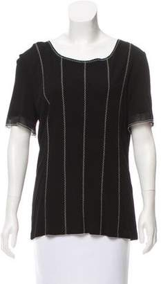 Chanel Embroidered Short Sleeve Top
