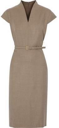 Max Mara Belted Brushed-Wool Dress