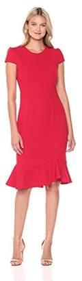 Betsey Johnson Women's Scuba Crepe Dress with Ruffle Hem,2