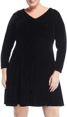 Alexia Admor Plus V-Neck Velvet Fit-And-Flare Dress, Plus Size
