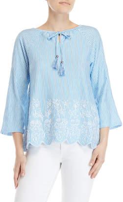 Rafaella Petite Striped Cold Shoulder Embroidered Top