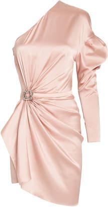 Alexandre Vauthier Twisted Satin One-Shoulder Dress