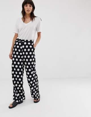 Selected polka dot wide leg trouser