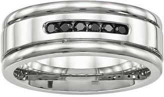 Primal Steel Primal Steel Stainless Steel Polished Grooved Black CZ Ring