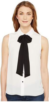 CeCe Sleeveless Collared Blouse w/ Bowtie Women's Blouse