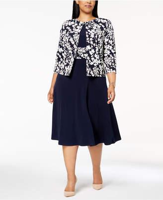 Jessica Howard Plus Size Ruched Dress & Floral-Print Jacket