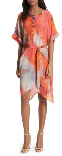 Print Henley Silk Dress