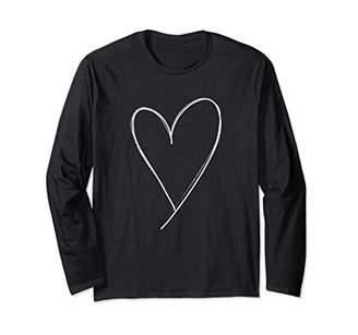 Simple Sketch Heart Valentine Long Sleeve T Shirt