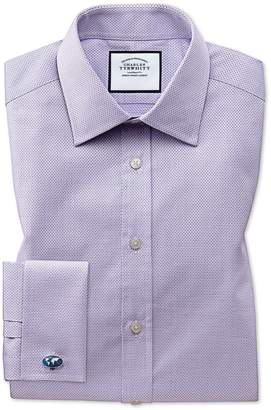Charles Tyrwhitt Extra Slim Fit Lilac Cube Weave Egyptian Cotton Dress Shirt French Cuff Size 14.5/33