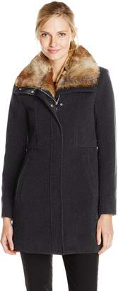 Andrew Marc by Women's Haven Wool Coat with Faux Fur Collar